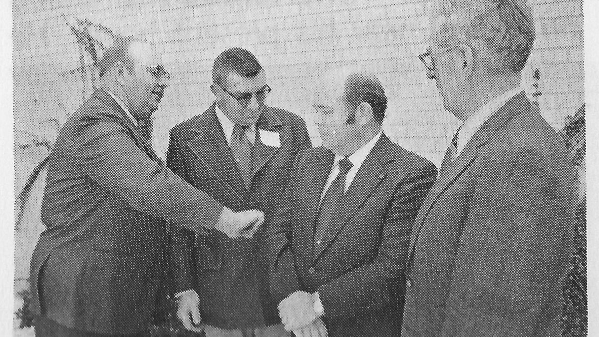Kansas soybean producers met at Ottawa Dec. 14, 1972 and voted to organize the Kansas Soybean Association and adopted a constitution and bylaws. From left, new Kansas Soybean Association officers, Wayne Dicken, De Soto, Kan., president; Robert Manson, De Soto, vice president; Verlin Peterson, Manhattan, Kan., executive secretary; and Ralph Smith, Iola, Kan., treasurer.