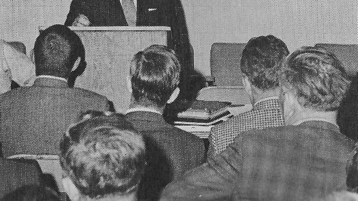 Olin Gooden, Woodside, Del., convenes the first annual meeting of the Mid-Atlantic Soybean Association in 1971, following the annual soybean production meeting at Salisbury, Md.