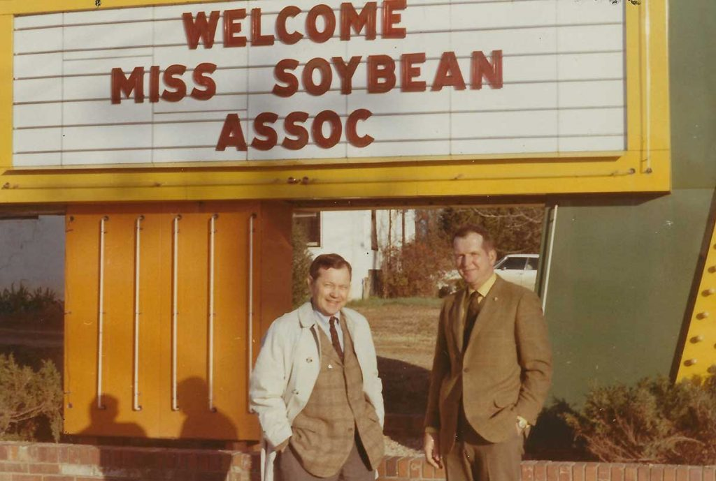 At the annual meeting of the Mississippi Soybean Association (MSA), Seymour Johnson (left), Tunica, past MSA president and Alex F. Ramsay, Jr. (right), Mt. Olive, president. Mr. Ramsay will succeed Mr. Johnson on the American Soybean Association board. (Photo undated)