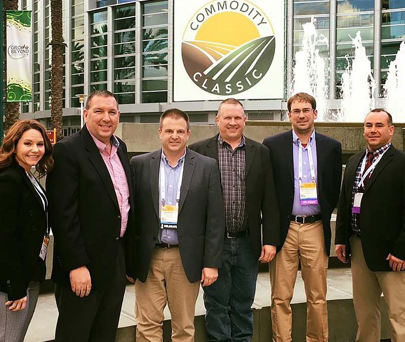 New York Corn and Soybean Growers Association staff and delegates attending the 2018 Commodity Classic in Anaheim, California. From the left, Executive Director Colleen Klein, Director of Public Policy Dean Norton, and New York delegates Jason Swede, Tom Corcoran, Seth Pritchard and Brad Macauley.