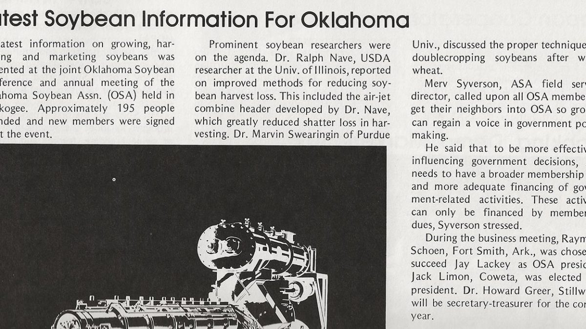 Article about the latest information presented at the 1976 annual meeting of the Oklahoma Soybean Association.