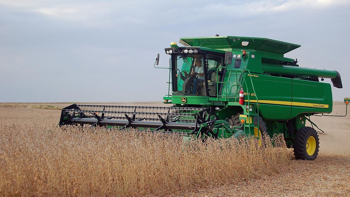 Harvesting soybeans on a good weather day.