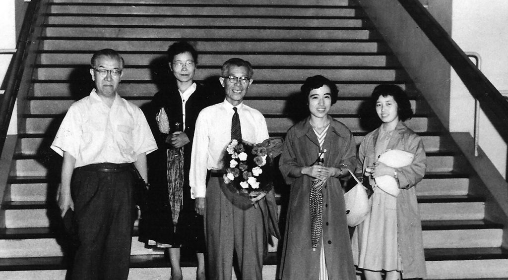 Staff of the Japanese American Soybean Institute in July 1957. Left to right: Hidekidu Sato, translator; Toshi Yonemura, interpreter and nutrition specialist; Shizuka Hayashi, managing director; Yoshiko Kojima, research and promotion specialist; and Yoko Takahashi, secretary