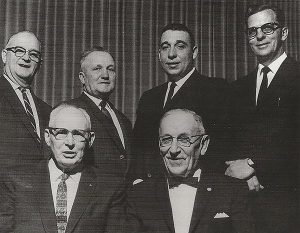 Pictured are the first officers of the Minnesota Soybean Growers Association. Back row, left to right: Charles Simpson, Leslie Wright, Robert Friedericks and Bert Enestvedt. Front row, John Evans and Henry Leitschuh. (Not pictured: Parker Sanders).