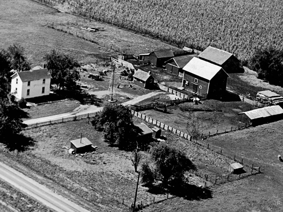 This aerial view shows the Moore farmstead in Roseville, Illinois around 1950.