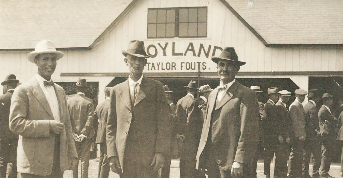 From the left are Soyland Farm owners Taylor, Finis, and Noah Fouts of Camden, Indiana, as they hosted the First Corn Belt Soybean Field Day on September 3, 1920.